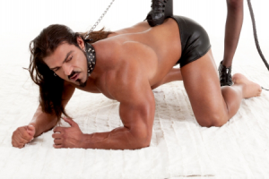 submissive man being dominated