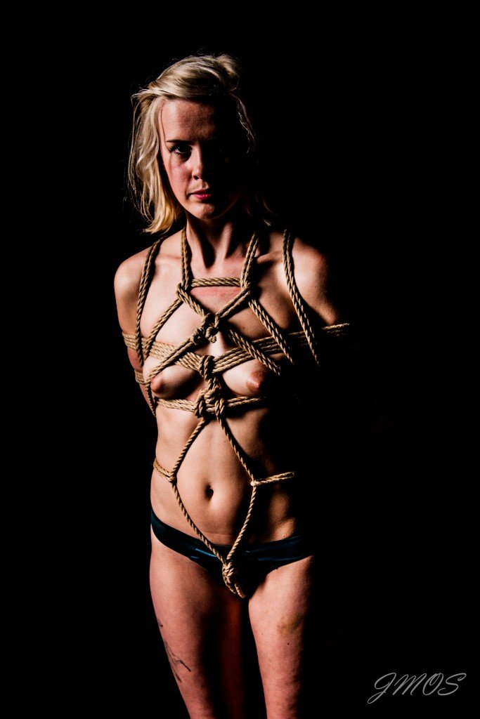 One version of a crotch rope tie. Rope by Master K, photo by -Knots-master-.