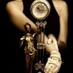 Sepia picture of a clock and beautiful young girl (focus on cloc
