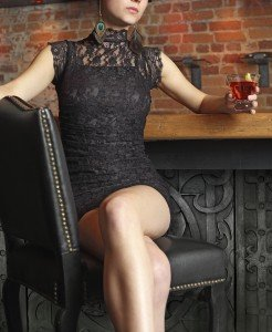 Sexy female sitting in a bar