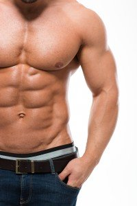 Muscular man with nude torso