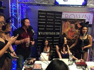Playboy Radio in progress with Mike, Holly, and some bunnies.
