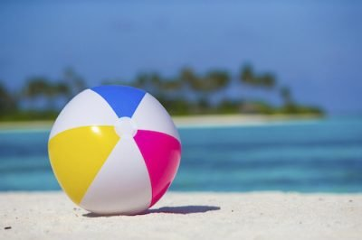Air ball at beach with turquoise sea and blue sky