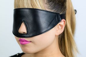 Leather bondage blindfold by Restricted Senses