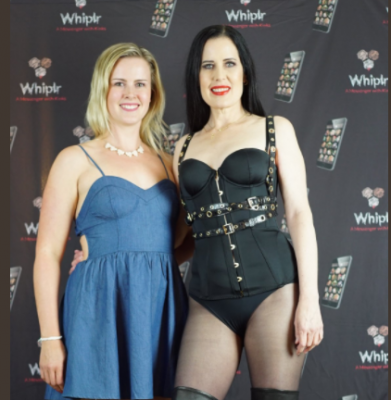 Simone Justice and anniebear at the Whiplr lounge. Photo courtesy of SJ Studios.