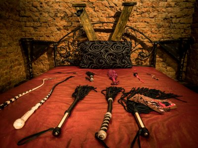 whips lie on the bed before the game