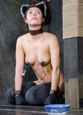 BDSM petplay kitty girl wants some milk