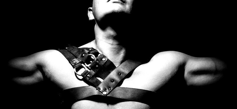 hot sexy male submissive with leather harness