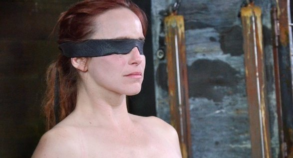 electro interrogation 01 submissive girl is strapped to chair and blindfolded