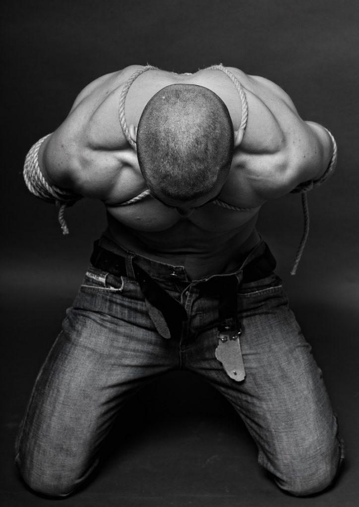 Shibari male submissive bound